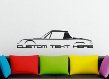 Large Custom car silhouette wall sticker - for Porsche 914 (with roof / top on) classic